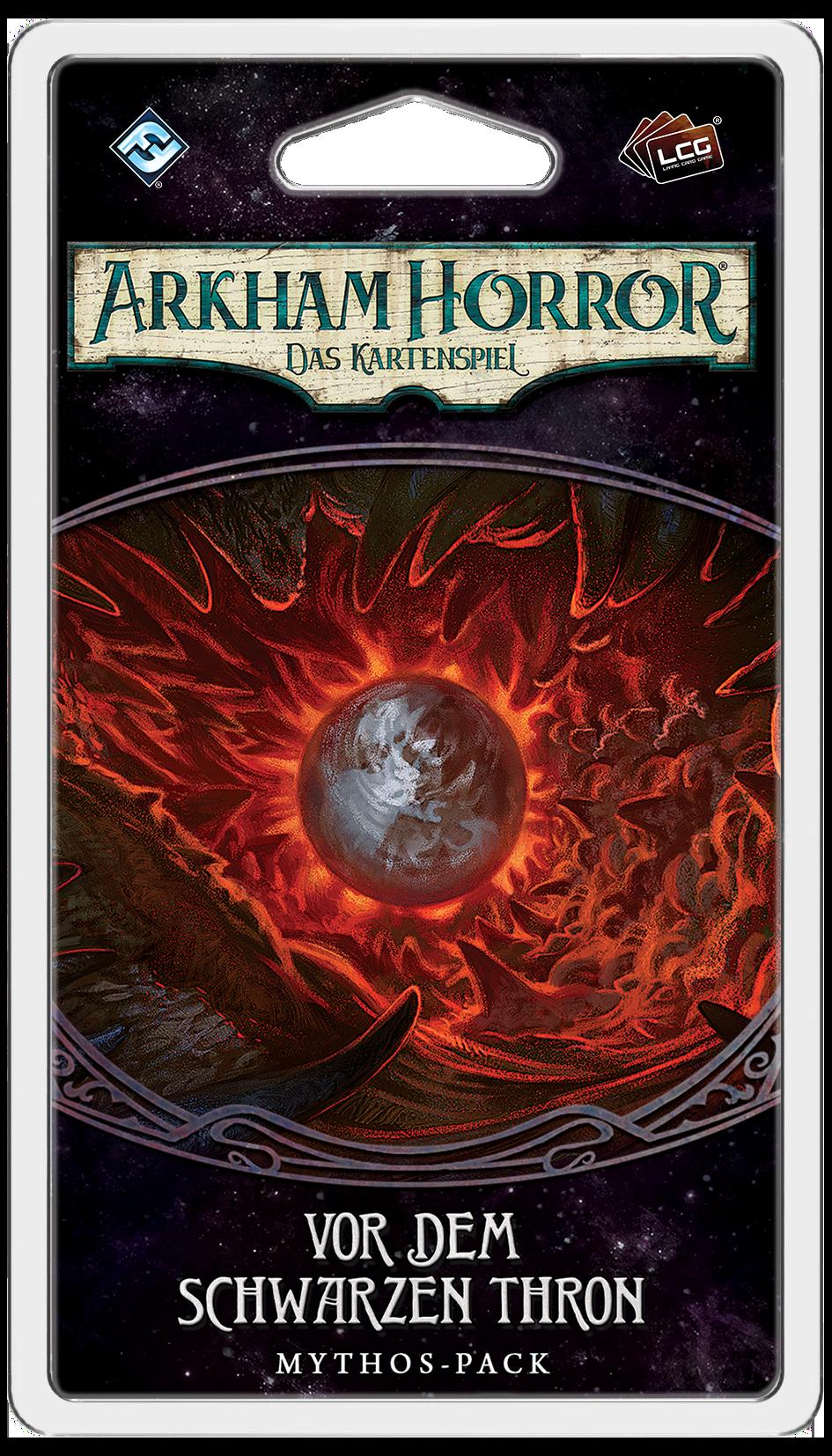 Das Mythos Pack Vor dem Schwarzen Thron zugehörig zur Arkham Horror LCG Erweiterung Der gebrochene Kreis
