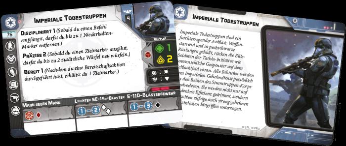 Zwei Karten der Imperiale Todestruppen Einheiten-Erweiterung für Star Wars Legion