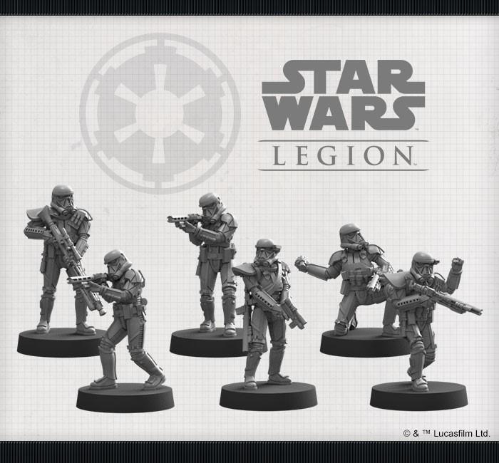 Miniaturen die in der Imperiale Todestruppen Einheiten-Erweiterung für Star Wars Legion enthalten sind