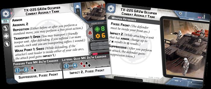 Zwei Karten aus der TX-225 GAVw Besatzer Kampfangriffspanzer Einheiten-Erweiterung für Star Wars™: Legion